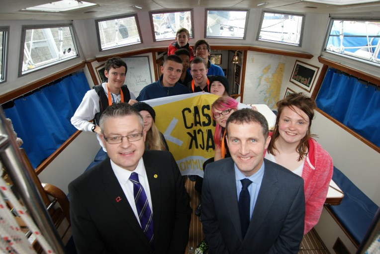 Stuart McMillan MSP and Justice Secretary Michael Matheson MSP with the group from Falkirk and Clackmannanshire Young Carers.