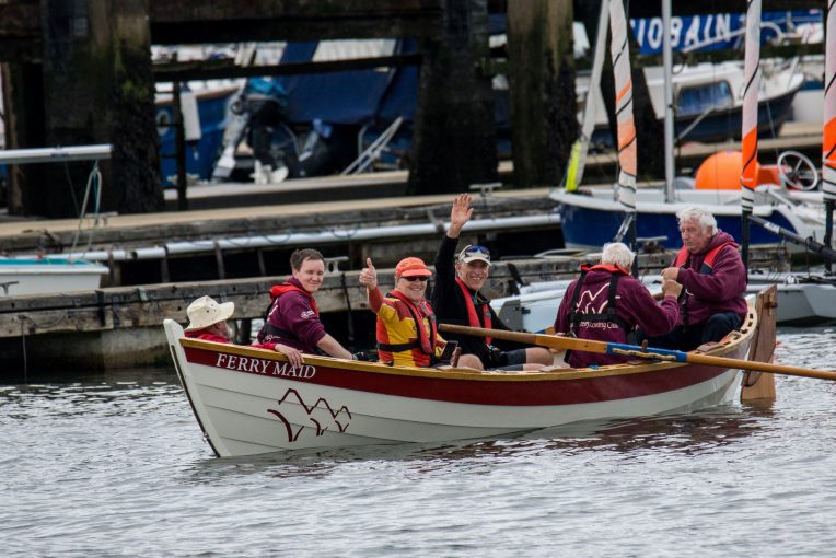 Willie and Alan on Queensferry Rowing Club Skiff after rowing across The Forth